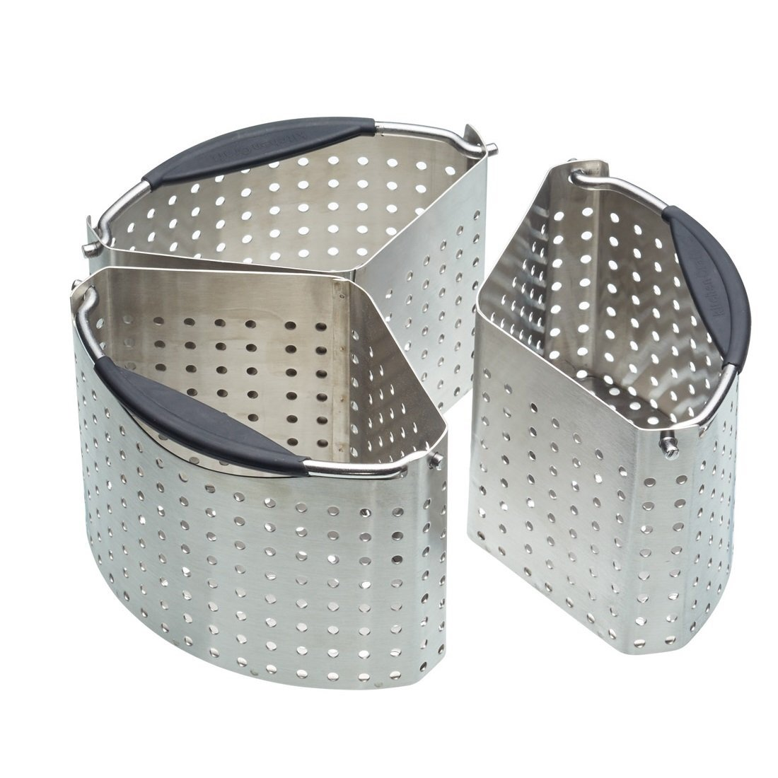 saucepan divider set of three wedge-shaped perforated steel containers which can sit together in a pan to hold ingredients separately wit in the same water/soup base